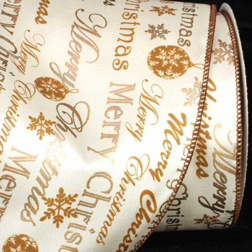 """Gold and White Merry Christmas Wired Craft Ribbon 5"""" x 20 Yards - IMAGE 1"""