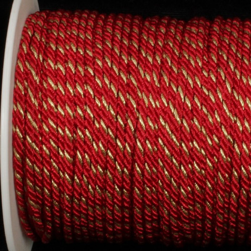 """Red with Gold Wired Craft Ribbon 0.25"""" x 110 Yards - IMAGE 1"""