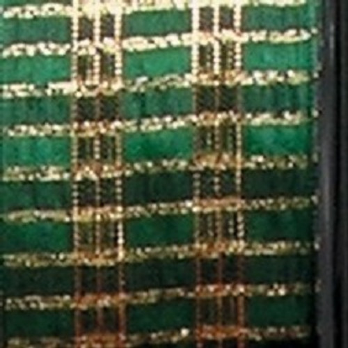 """Gold and Hunter Green Checkered Woven Wired Craft Ribbon 1.5"""" x 27 Yards - IMAGE 1"""