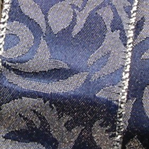 """Navy Blue and Silver Reversible Wired Edge Craft Ribbon 4"""" x 20 Yards - IMAGE 1"""