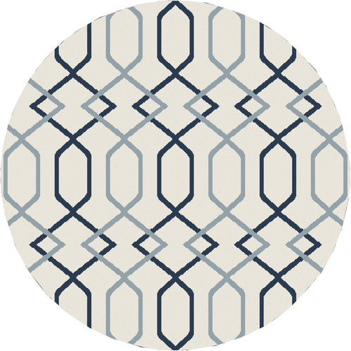 7.8' Entwine Passions Blue and Ivory White Round Area Throw Rug - IMAGE 1