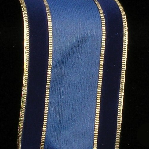 """Navy Blue and Gold """"Georgia"""" Wired Polyester & Nylon Fabric Decorative Print Ribbon 2.5"""" x 20 Yards - IMAGE 1"""