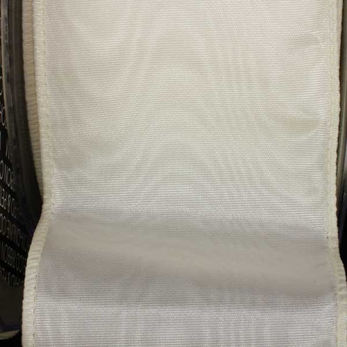 """Ivory Solid Moire Wired Craft Ribbon 2.5"""" x 40 Yards - IMAGE 1"""