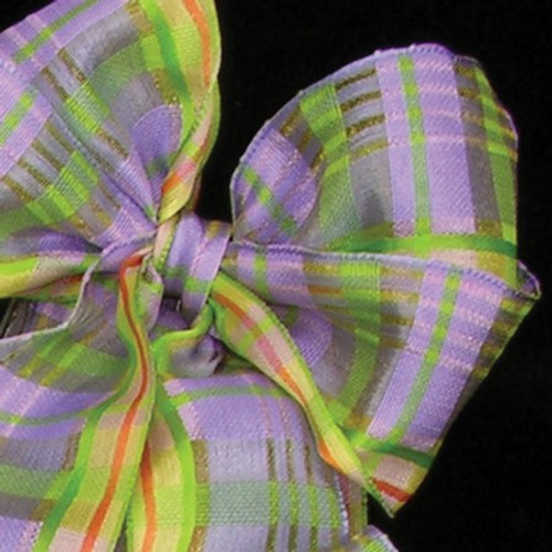 "Purple and Green Print Wired Craft Ribbon 1.5"" x 54 Yards - IMAGE 1"