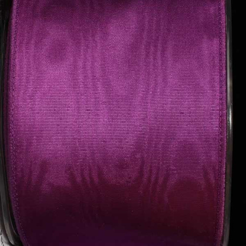 """Purple Solid Moire Wired Craft Ribbon 2.5"""" x 40 Yards - IMAGE 1"""