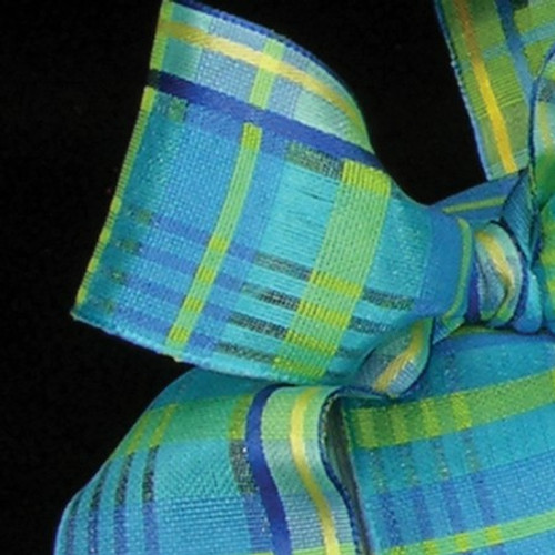 "Blue Sapphire with Green Plaid Wired Craft Ribbon 1.5"" x 54 Yards - IMAGE 1"
