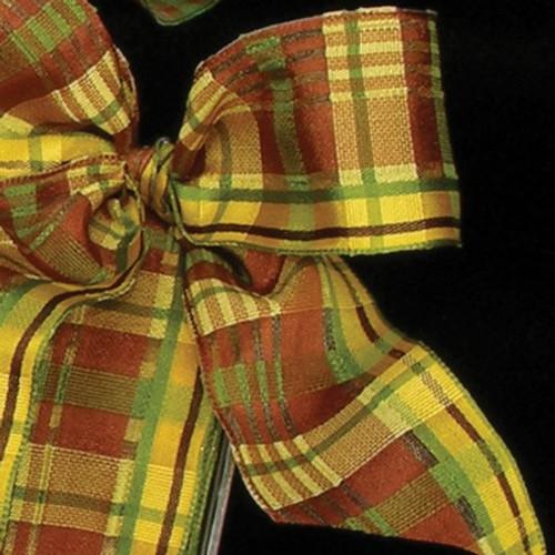 "Brown Sheer Yellow and Green Basil Wired Craft Ribbon 0.05""x 54 Yards - IMAGE 1"