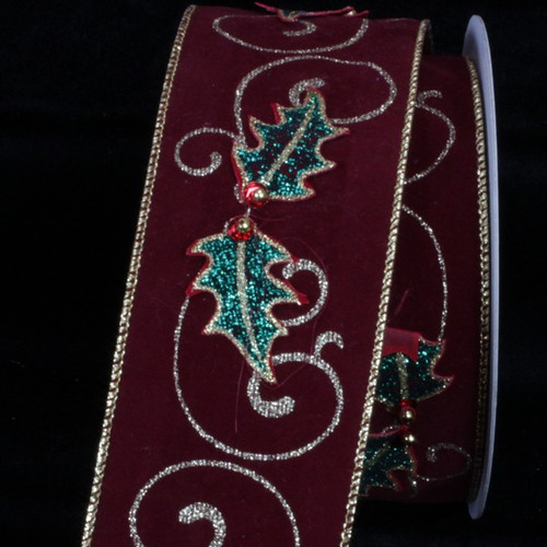 """Burgundy Red and Green Holly Leaf Applique Wired Craft Ribbon 2.5"""" x 10 Yards - IMAGE 1"""