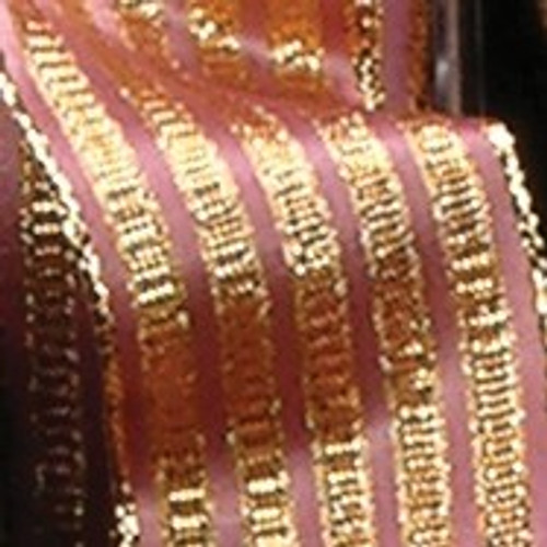 """Rose Pink and Gold Striped Woven Wired Craft Ribbon 1.5"""" x 27 Yards - IMAGE 1"""