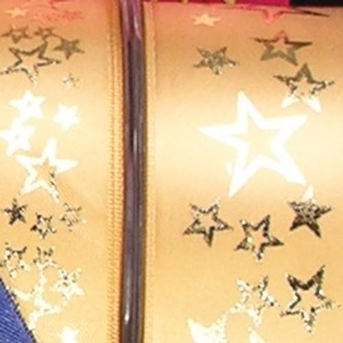"Gold Star Print Solid Craft Ribbon 1"" x 54 Yards - IMAGE 1"