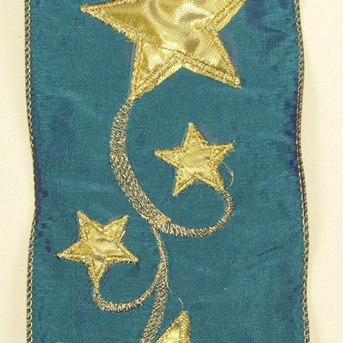 """Blue and Gold Star Wired Craft Ribbon 4"""" x 10 Yards - IMAGE 1"""