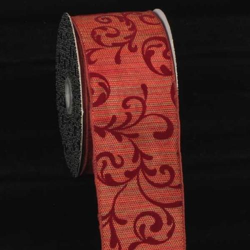 "Burgundy Red Swirl Wired Craft Ribbon 3"" x 20 Yards - IMAGE 1"