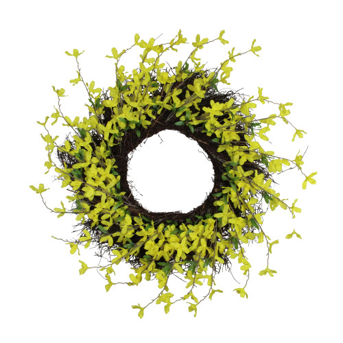 Forsythia and Grapevine Artificial Floral Wreath, Yellow 24-Inch - IMAGE 1