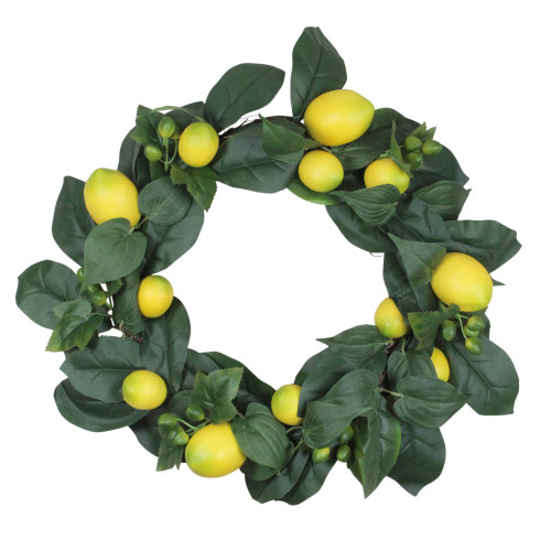 Lemon and Foliage Artificial Wreath, Yellow 22-Inch - IMAGE 1