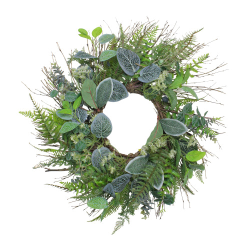 Ivy and Fern Spring Floral Wreath, Green 22-Inch - IMAGE 1