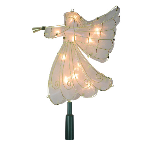 9.5 Lighted Gold Angel Silhouette Christmas Tree Topper - Clear Lights - IMAGE 1