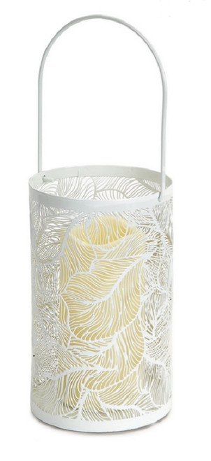 """8"""" White Leaf Patterned Battery Operated LED Candle Lantern with Timer - IMAGE 1"""