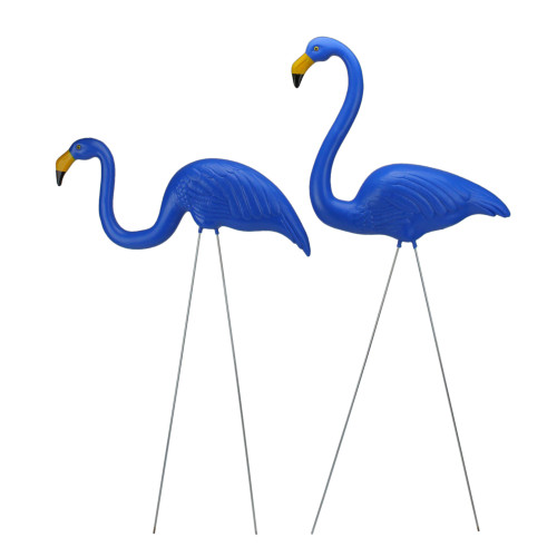 """Set of 2 Blue Tropical Flamingo Outdoor Lawn Stakes 33"""" - IMAGE 1"""