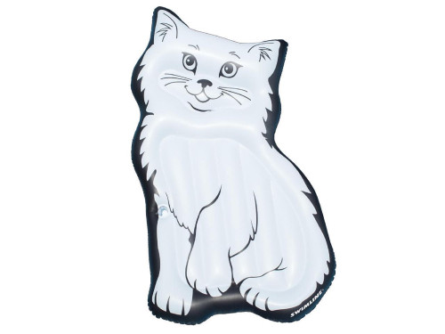 Inflatable Black and White Kitty Swimming Pool Lounger, 79-Inch - IMAGE 1