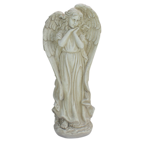 "21.5"" Angel Reflecting in Thought Outdoor Garden Statue - IMAGE 1"