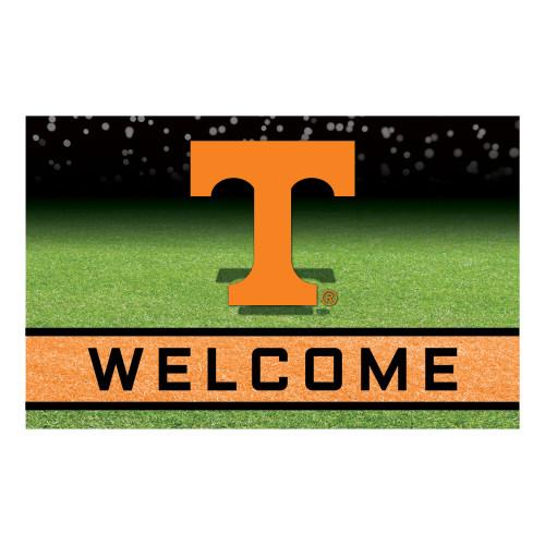 """18"""" x 30"""" Green and Orange Contemporary NCAA Volunteers Outdoor Door Mat - IMAGE 1"""