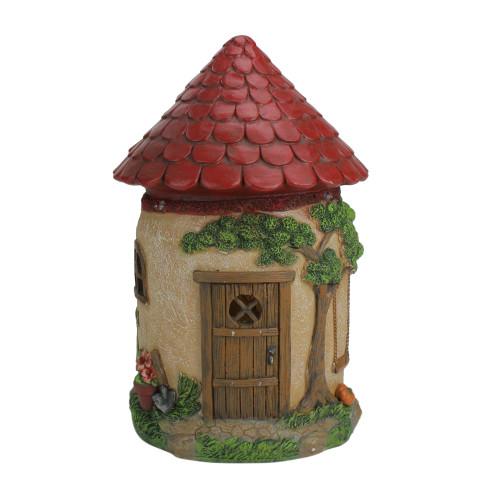 "11.5"" LED Lighted Solar Powered Round Mushroom-Esque House Outdoor Garden Statue - IMAGE 1"