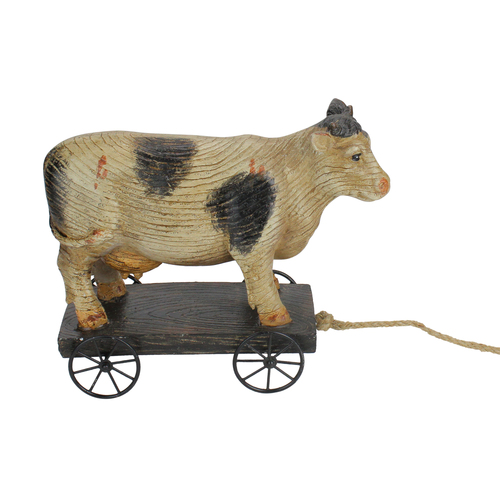 """10.25"""" Black and White Wood Textured Cow on Cart Outdoor Garden Statue - IMAGE 1"""