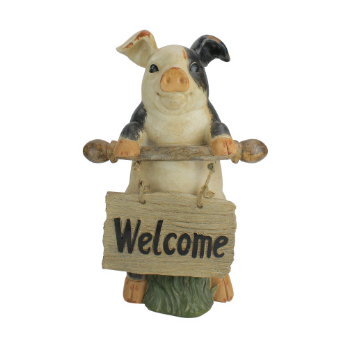 """17"""" Standing Pig with Welcome Sign Outdoor Garden Statue - IMAGE 1"""