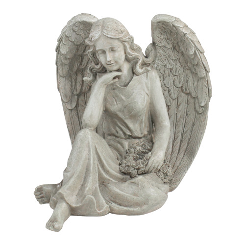 """16.5"""" Sitting Angel Holding a Floral Wreath Outdoor Garden Statue - IMAGE 1"""