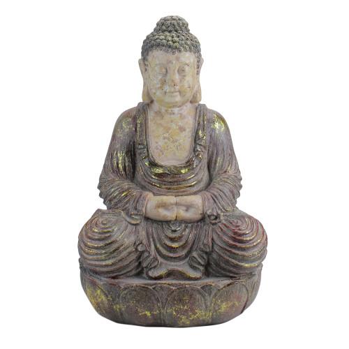 "22"" Brown and Beige Meditating Buddha Outdoor Garden Statue - IMAGE 1"