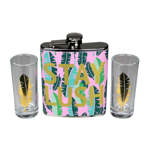 "Tropical ""Stay Lush"" Flask and Shot Glass Gift Set 7 oz. - IMAGE 1"