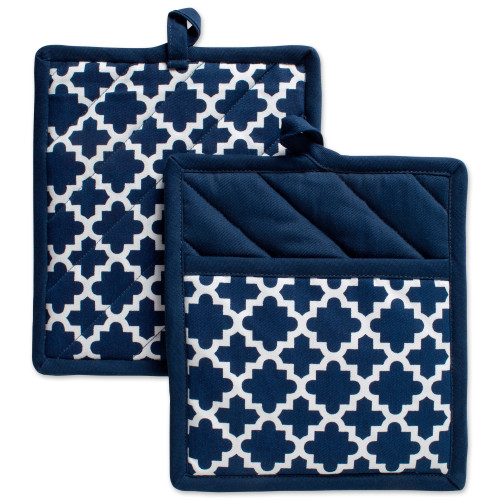 """Set of 2 Nautical Blue Quilted Lattice Potholders with Loop 9"""" - IMAGE 1"""