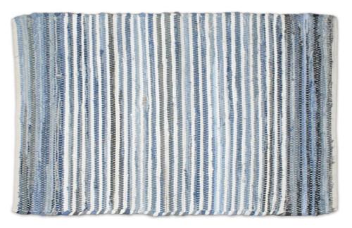 "48"" x 72"" Blue and White Striped Rectangular Area Throw Rug - IMAGE 1"