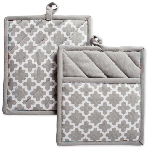 """Set of 2 Gray Quilted Lattice Potholders with Loop 9"""" - IMAGE 1"""
