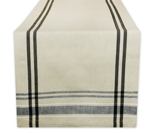 """14"""" x 72"""" Neutral Taupe and Black French Stripe Rectangular Table Runner - IMAGE 1"""