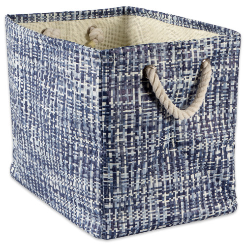 """17"""" Nautical Blue and Ivory Tweed Patterned Large Rectangular Bin with Rope Handles - IMAGE 1"""