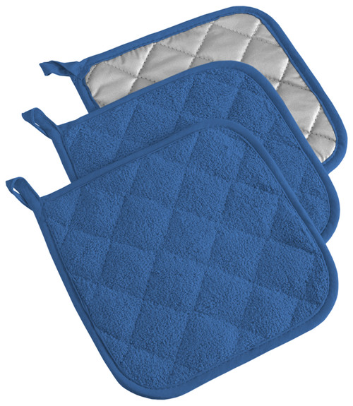 """Set of 3 Blue and Silver Colored Square Potholders with Loop 7"""" - IMAGE 1"""
