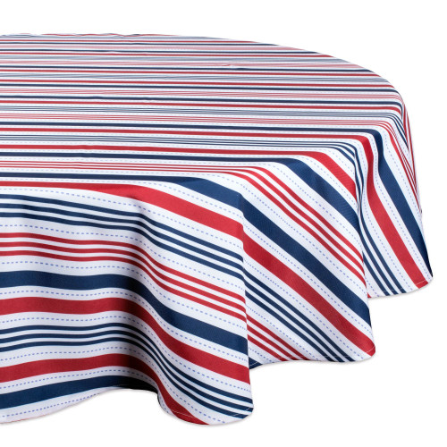 """Vibrantly Colored Patriotic Stripe Outdoor Round Tablecloth 60"""" - IMAGE 1"""