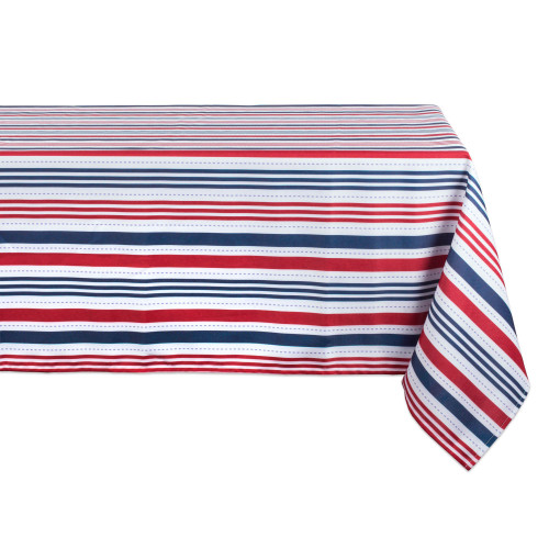 """Red and Blue Patriotic Striped Rectangular Tablecloth 60"""" x 84"""" - IMAGE 1"""