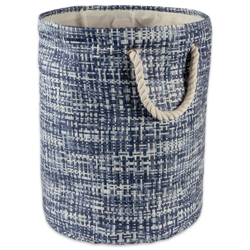 """17"""" Nautical Blue and Ivory Tweed Patterned Medium Round Bin with Rope Handles - IMAGE 1"""