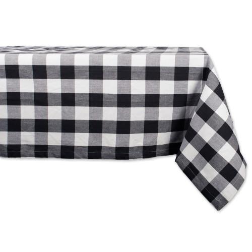"Black and White Buffalo Checkered Designed Rectangular Tablecloth 60"" x 120"" - IMAGE 1"