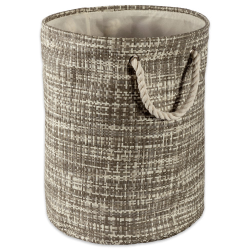 """14"""" Gray and Ivory Tweed Patterned Small Round Bin with Rope Handles - IMAGE 1"""