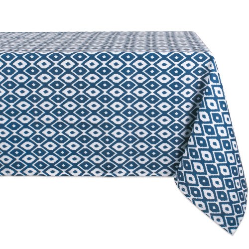 """Blue and White Ikat Patterned Rectangular Tablecloth 60"""" x 120"""" - IMAGE 1"""