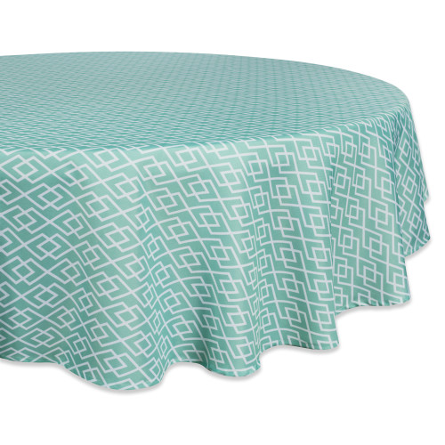 "Aqua Blue and White Diamond Pattern Outdoor Round Tablecloth 60"" - IMAGE 1"