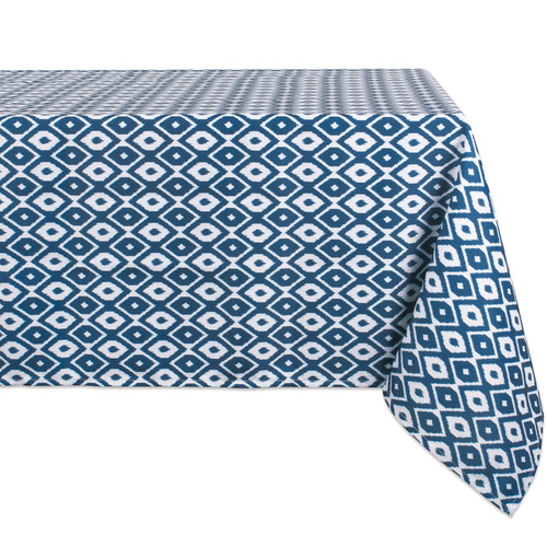 """Blue and White Ikat Patterned Rectangular Tablecloth 60"""" x 84"""" - IMAGE 1"""