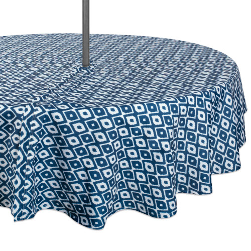 """Blue and White Ikat Patterned Round Tablecloth with Zipper 60"""" - IMAGE 1"""