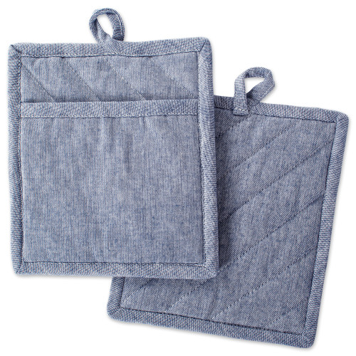 """Set of 2 Blue Chambray Solid Patterned Potholders 9"""" - IMAGE 1"""