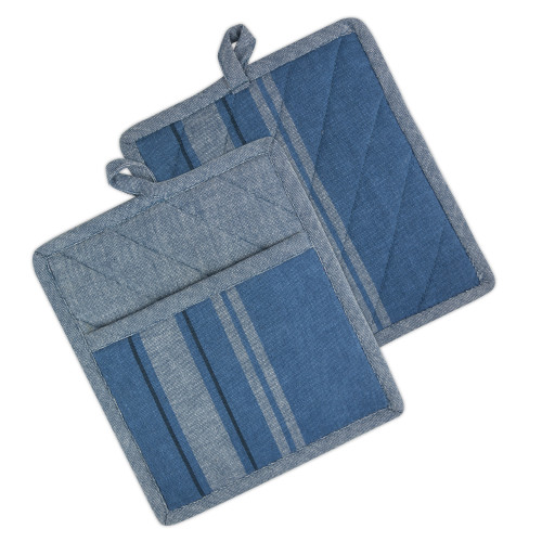 "Set of 2 Blue Chambray French Striped Potholders 9"" - IMAGE 1"