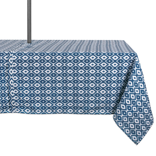 """Blue and White Ikat Pattern Rectangular Tablecloth with Zipper 60"""" x 84"""" - IMAGE 1"""