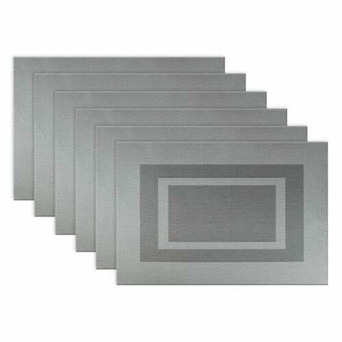 """Set of 6 Gray Double Framed Contemporary Rectangular Placemats 13"""" x 19"""" - IMAGE 1"""